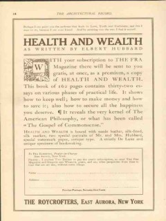 the roycrofters 1911 health and wealth by elbert hubbard vintage ad