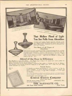 alexalite company 1913 mellow flood light lotus gothic vintage ad