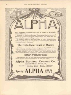 alpha portland cement company 1913 high-water mark quality vintage ad