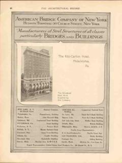 american bridge company 1913 ritz-carlton hotel philadel pa vintage ad
