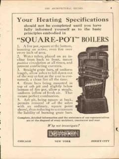 boynton furnace company 1913 square-pot boilers heating vintage ad