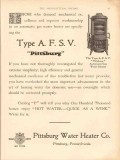 pittsburg water heater company 1913 automatic gas type afsv vintage ad