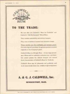 a g l caldwell inc 1934 old newburyport rum for cocktails vintage ad