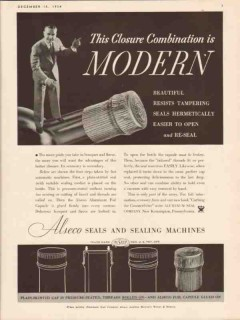 aluminum seal company 1934 closure combination is modern vintage ad