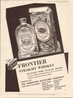 american distilling company 1934 frontier straight whiskey vintage ad
