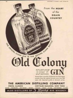 american distilling company 1934 old colony dry gin vintage ad1