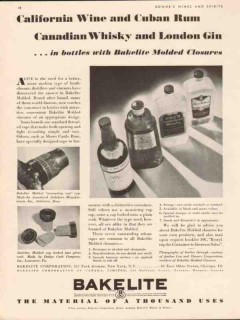bakelite corp 1934 wine whiskey rum bottle molded closures vintage ad
