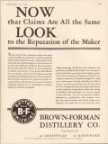 brown-forman distillery company 1934 reputation of maker vintage ad