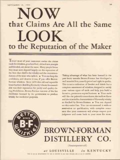brown-forman distillery company 1934 reputation of maker vintage ad