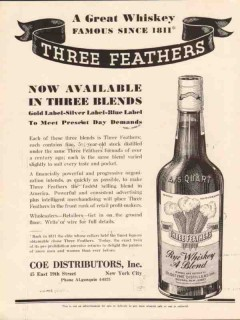 coe distributors 1934 three feathers gold silver blue label vintage ad