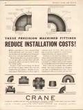 crane company 1934 precision fittings reduce install costs vintage ad