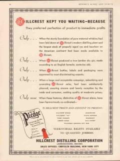 hillcrest distilling corp 1934 preferred perfection product vintage ad
