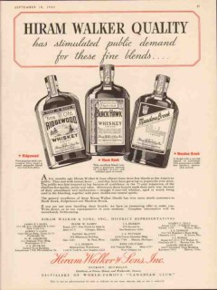 hiram walker sons 1934 stimulated public demand fine blends vintage ad