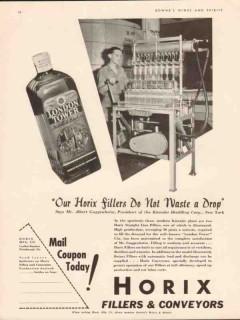 horix mfg company 1934 kienzler distilling fillers vintage ad