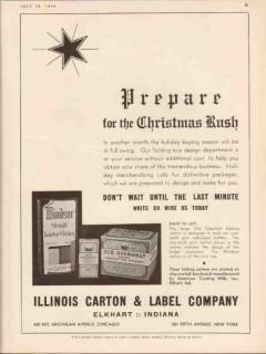 illinois carton label company 1934 prepare christmas rush vintage ad