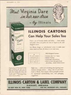 illinois carton label company 1934 meet virginia dare vintage ad