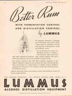 lummus company 1934 better rum fermentation control vintage ad