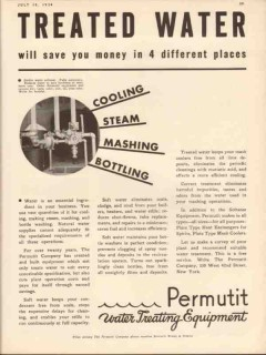 permutit company 1934 treated water cooling steam mashing vintage ad