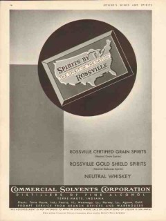 commercial solvents corp 1935 spirits by rossville whiskey vintage ad