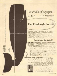 pittsburgh press 1947 whale of a paper vintage ad