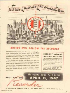 boot shoe recorder 1947 national fair media trade buyers vintage ad