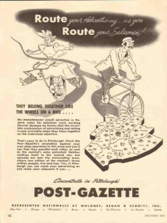 post gazette 1947 pittsburgh pa route your advertising vintage ad