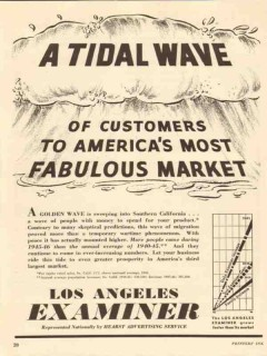 los angeles examiner 1947 tidal wave of customers market vintage ad