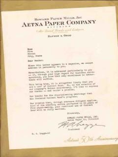 howard paper mills inc 1947 ha legge aetna 50th anniversary vintage ad