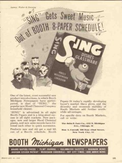 booth michigan newspapers 1947 sing sweet music media trade vintage ad