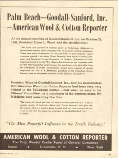 american wool cotton reporter 1947 goodall-sanford media vintage ad