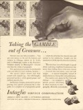 intaglio service corp 1947 taking gamble out gravure media vintage ad