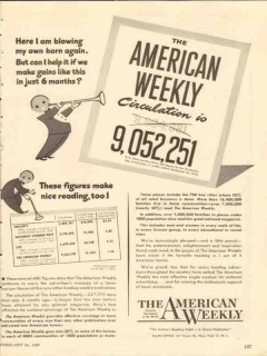 american weekly 1947 blowing own horn trade magazine media vintage ad