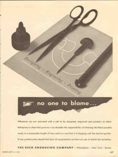 beck engraving company 1947 no one to blame printing media vintage ad