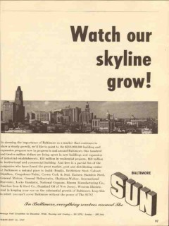 baltimore sun 1947 watch our skyline grow newspaper media vintage ad