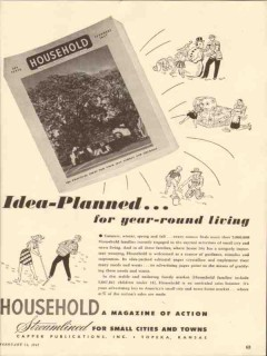 household 1947 idea planned year round living magazine vintage ad