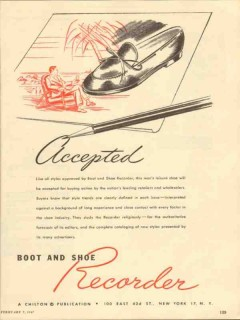 boot shoe recorder 1947 accepted styles approved media vintage ad