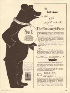 pittsburgh press 1947 bear down 6 largest market newspaper vintage ad