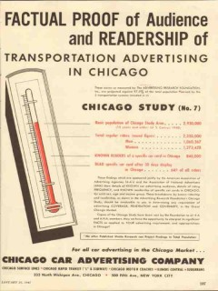 chicago car advertising company 1947 proof audience media vintage ad