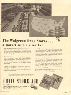 chain store age 1947 walgreen drug editions magazine media vintage ad