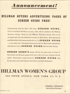 hillman womens group 1947 advertising pages screen guide vintage ad
