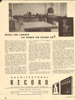 architectural record 1947 shall lumber lie down or stand up vintage ad