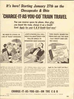 chesapeake ohio railway 1947 charge as you go train travel vintage ad