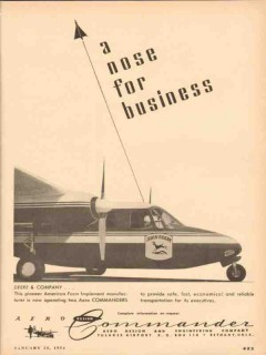 aero design engineering company 1954 john deere airplane vintage ad