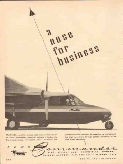 aero design and engineering 1954 maytag commander airplane vintage ad