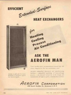 Aerofin Corp 1954 Vintage Ad Efficient Extended Surface Heat Exchanger