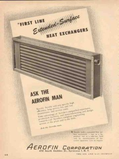 Aerofin Corp 1954 Vintage Ad Oil First Line Extended Heat Exchangers