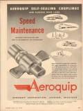 Aeroquip Corp 1954 Vintage Ad Speed Maintenance Self Sealing Couplings