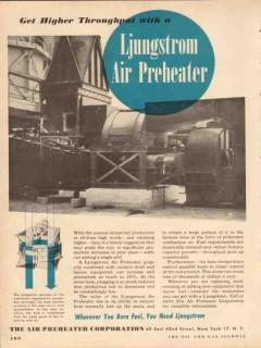 Air Preheater Corp 1954 Vintage Ad Oil Ljungstrom Higher Throughput