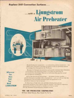 Air Preheater Corp 1954 Vintage Ad Ljungstrom Replace Still Convection
