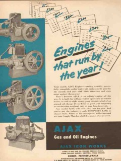 Ajax Iron Works 1954 Vintage Ad Oil Field Engines Run Year Petroleum